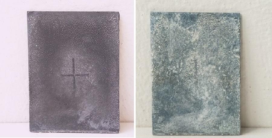 Пластины, оцинкованные аэрозолем Vixen (1-е место): вид через 3 недели после начала теста (слева) и через 9 месяцев (справа)
