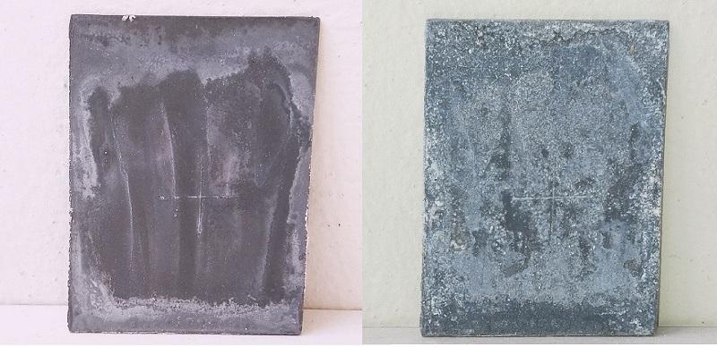 Пластины, оцинкованные аэрозолем Wurth (2-е место): вид через 3 недели после начала теста (слева) и через 9 месяцев (справа)